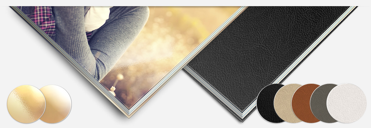 Various cover options for your photobook. Select between image cover, photographically printed on photo paper, and leatherette cover. Further options are available for the cover.
