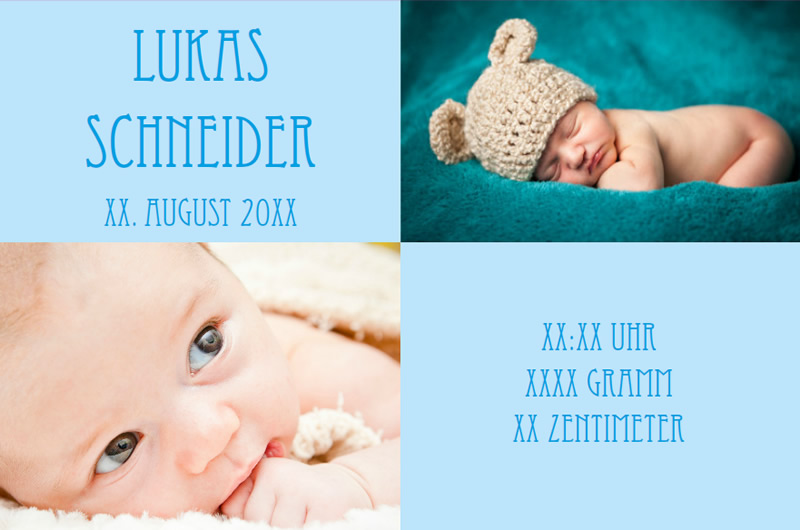 birth announcement card blue with photos